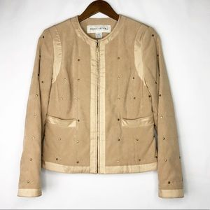 DONCASTER Tan Jacket with Zipper Front Closure